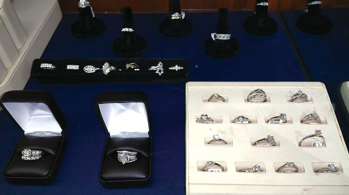rings for sale in a display case