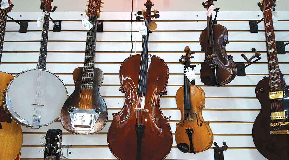 string instruments for sale on display