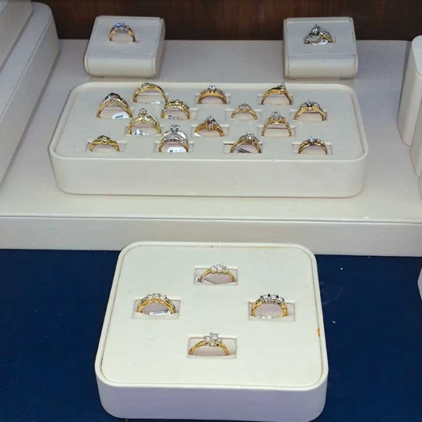 engagement rings for sale in a display case