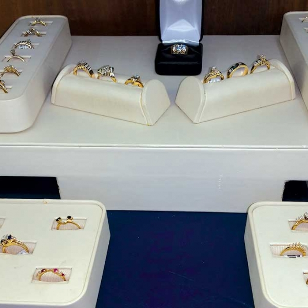 gold rings for sale in a display case